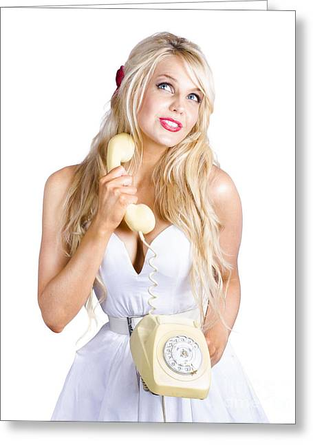 Blond Lady On Old-fashion Telephone Communication Greeting Card by Jorgo Photography - Wall Art Gallery