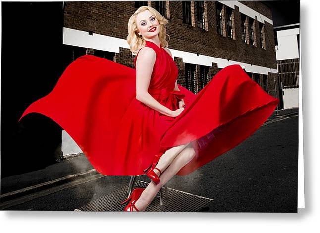Blond Marilyn Monroe Pinup Girl In Retro Dress Greeting Card by Jorgo Photography - Wall Art Gallery