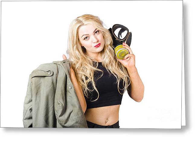 Blond Pin Up Woman Holding Gasmask. Nuclear Pinups Greeting Card by Jorgo Photography - Wall Art Gallery