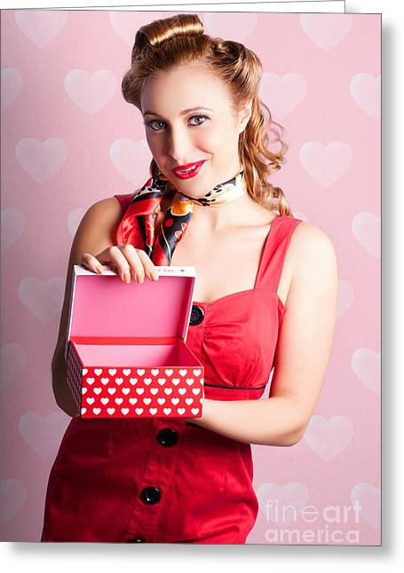 Blond Retro Girl Opening Hearts Present Gift Box Greeting Card