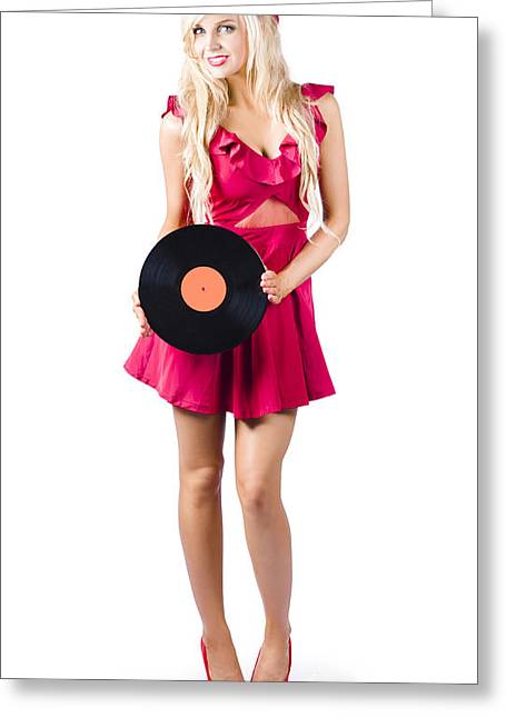 Blond Woman With Vinyl Record Greeting Card
