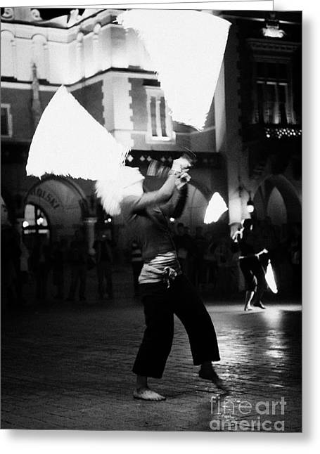 Blonde Female Fire Dancer Street Entertainer Dances With Fire In Front Of The Cloth Hall In Krakow Greeting Card