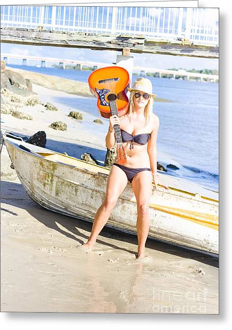 Blonde Female Traveling Entertainer At Beach Greeting Card