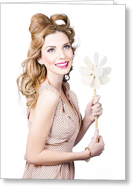 Blonde Girl Holding Windmill Fan. Natural Energy Greeting Card