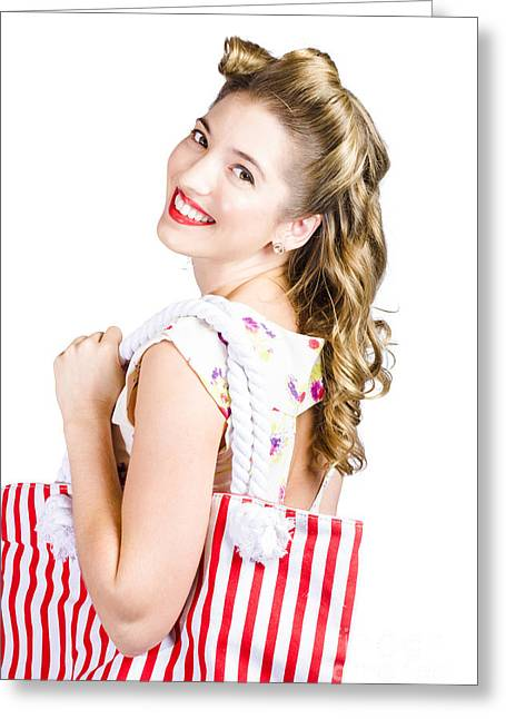 Blonde Style Girl With Shopping Bags On White Greeting Card by Jorgo Photography - Wall Art Gallery
