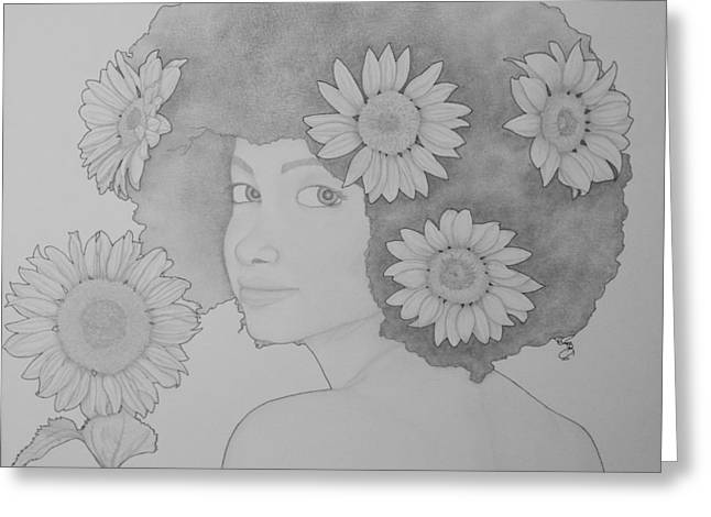 Blooming Girl Sunflower  Greeting Card by Aaron El-Amin