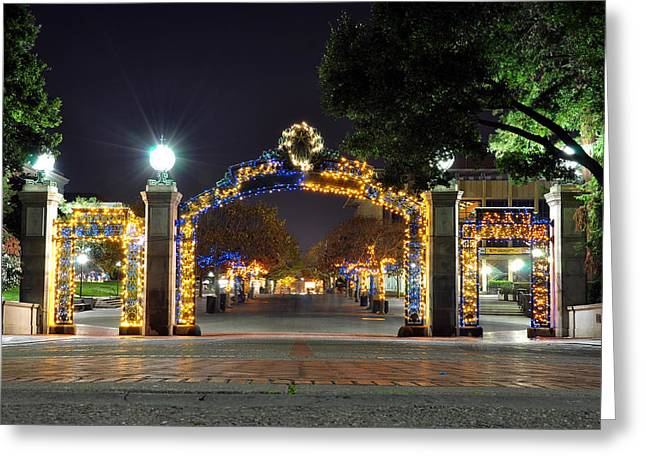 Blue And Gold Sather Gate Greeting Card
