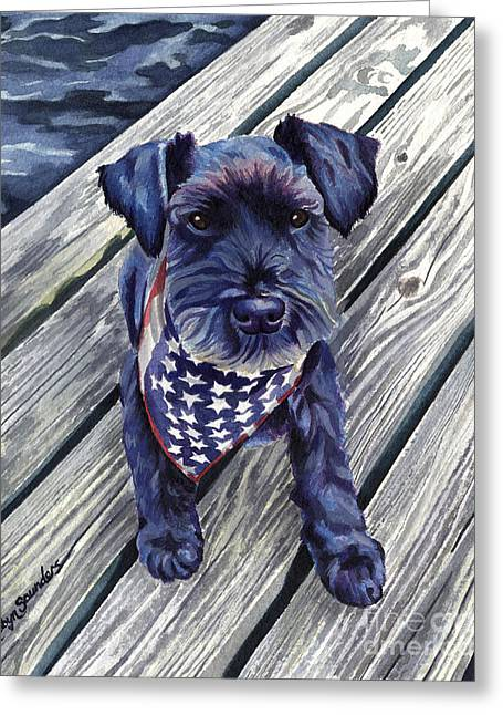 Black Dog On Pier Greeting Card