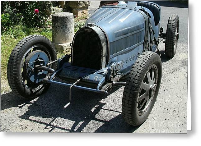 Blue Bugatti Oldtimer Greeting Card