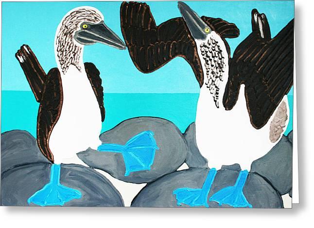 Blue Footed Boobies. Greeting Card by Matthew Brzostoski