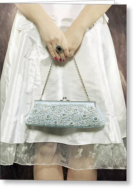 Blue Handbag Greeting Card by Joana Kruse