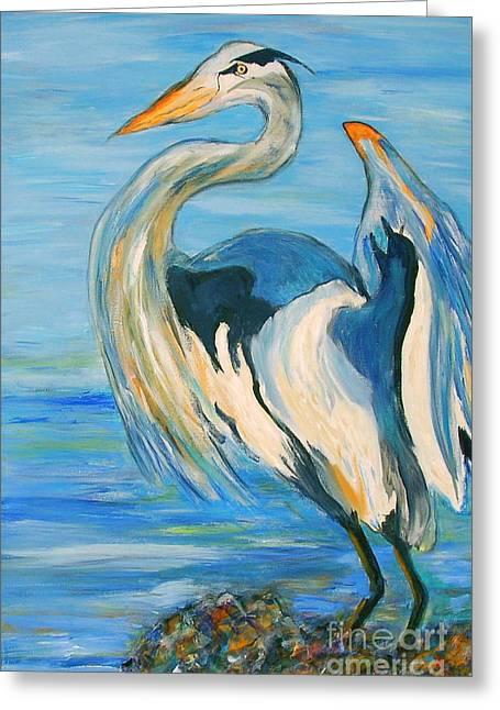 Blue Heron II Greeting Card by Ellen Anthony