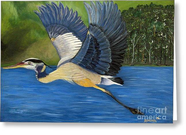 Greeting Card featuring the painting Blue Heron In Flight by Brenda Brown