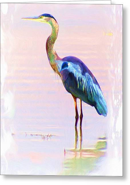 Blue Heron Greeting Card by John  Kolenberg