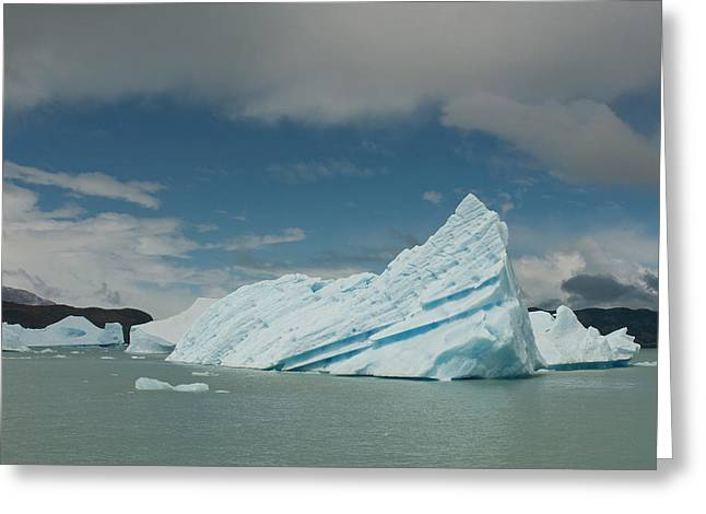 Blue Icebergs Seen On Lago, Los Greeting Card by Howie Garber