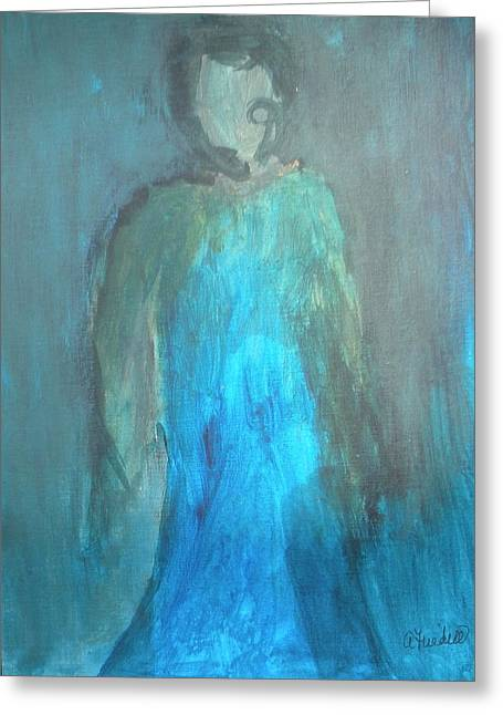 Blue Lady Greeting Card by Andrea Friedell