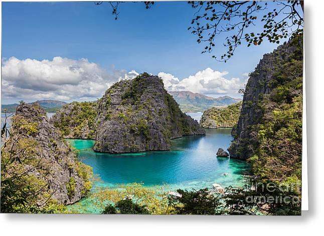 Blue Lagoon At Kayangan Lake Coron Island Philippines Greeting Card by Fototrav Print