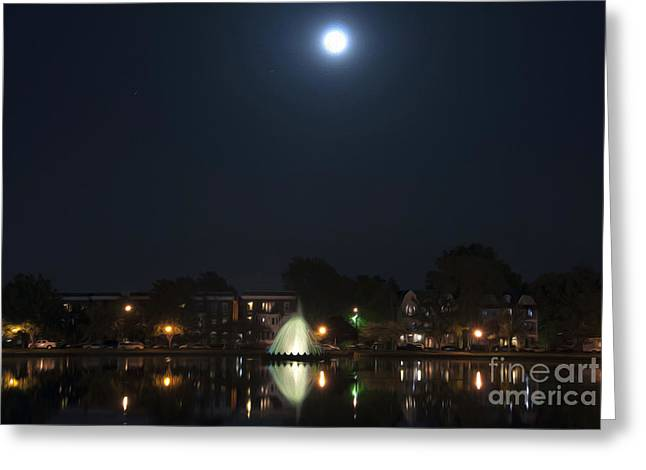 Greeting Card featuring the digital art Blue Moon Over Fountain Lake by Kelvin Booker