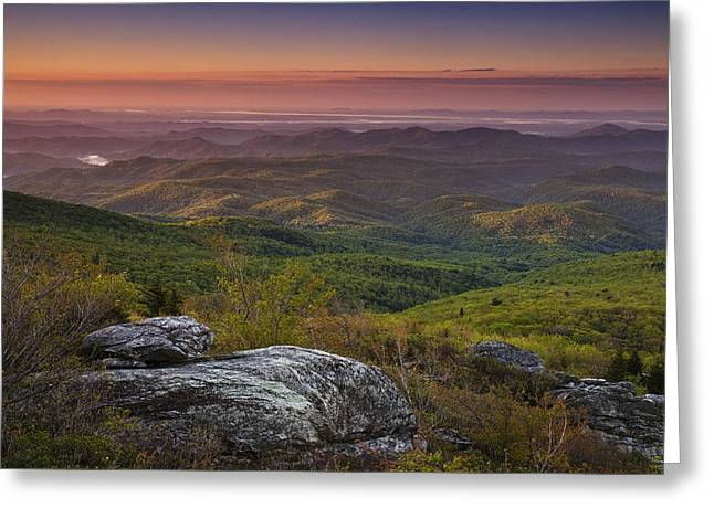 Blue Ridge Morning Greeting Card by Andrew Soundarajan