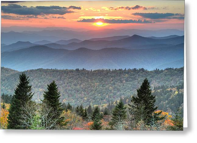Blue Ridge Mountains Sunset Greeting Card by Mary Anne Baker