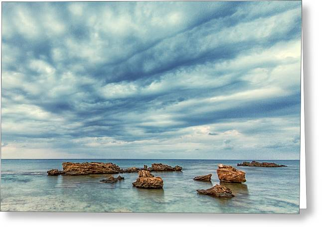 Blue Greeting Card by Stelios Kleanthous