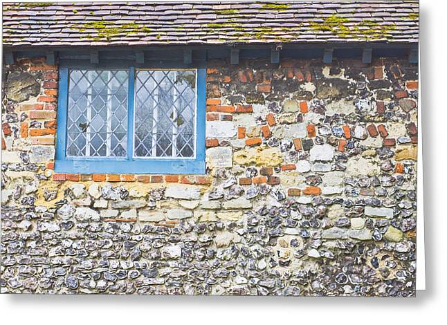 Blue Window Greeting Card by Tom Gowanlock