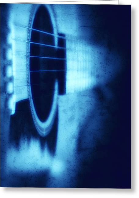 Blues - Blue Acoustic Guitar Art Photography Greeting Card by Modern Art Prints