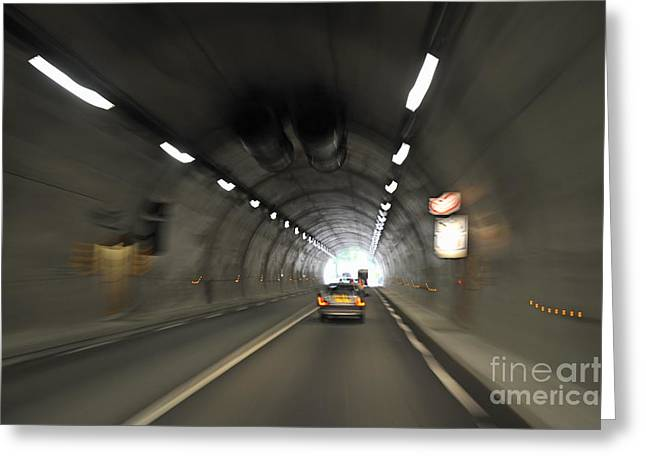 Blurred Motion In A Road Tunnel Greeting Card by Sami Sarkis