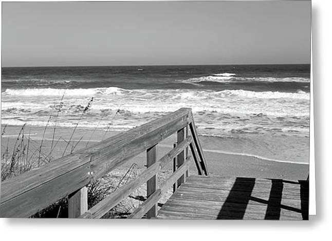 Boardwalk Leading Towards A Beach Greeting Card