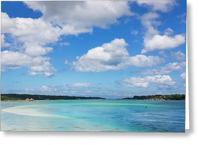 Boat In The Ocean, Bohol Island Greeting Card