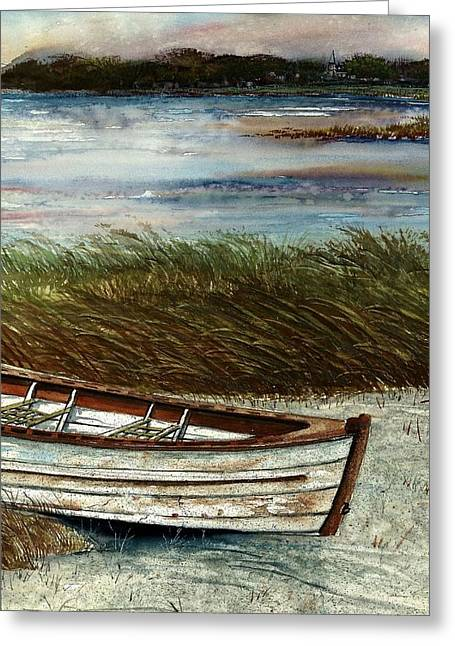 Boat On Shore Greeting Card by Steven Schultz