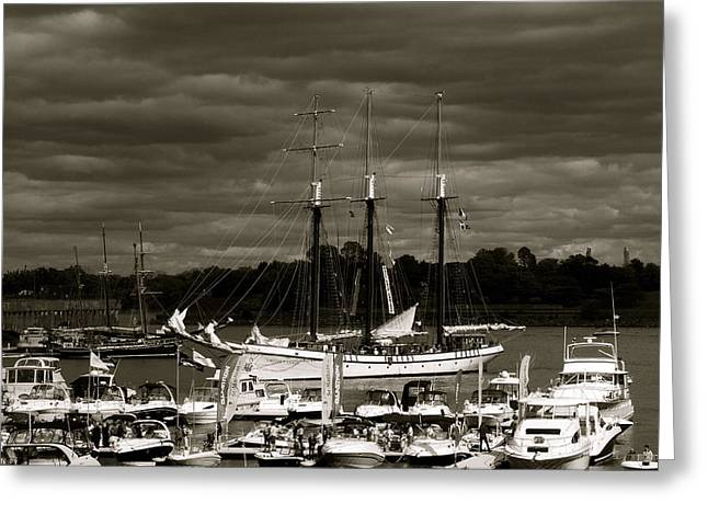 Boat On The River Greeting Card by Jocelyne Choquette