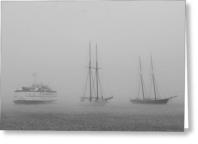 Boats In Fog Greeting Card