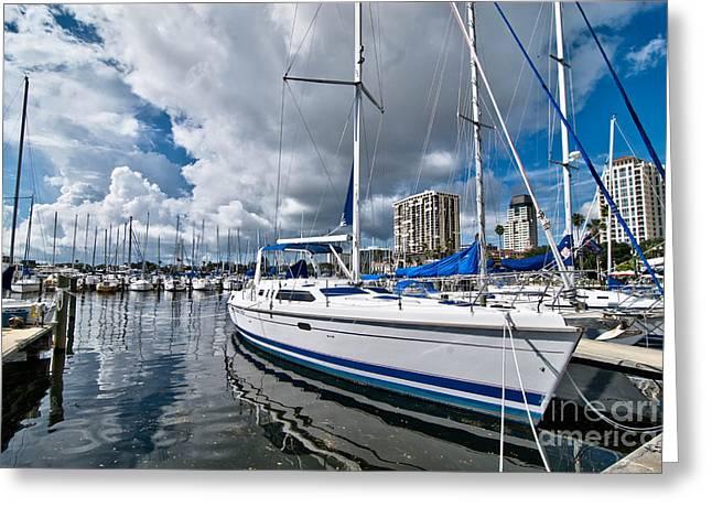 Boats In Marina Saint Petersburg Florida Greeting Card by Amy Cicconi