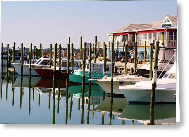 Boats In The Marina Greeting Card