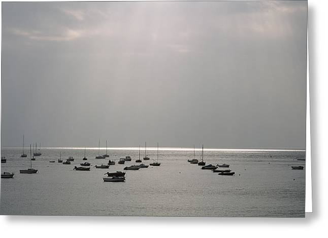 Boats In The Sea. Normandy. France. Europe Greeting Card by Bernard Jaubert
