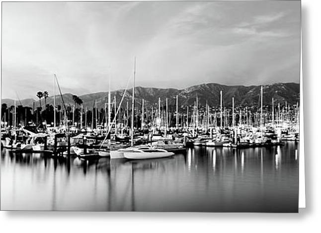 Boats Moored In Harbor At Sunset, Santa Greeting Card by Panoramic Images