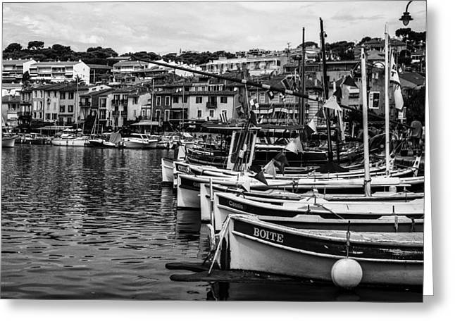 South Of France Harbor In Mono Greeting Card by Georgia Fowler