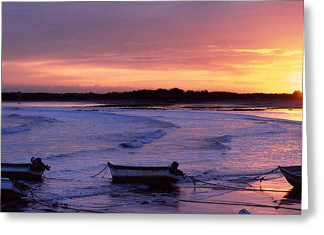 Boats On The Beach, Pors Carn Greeting Card by Panoramic Images