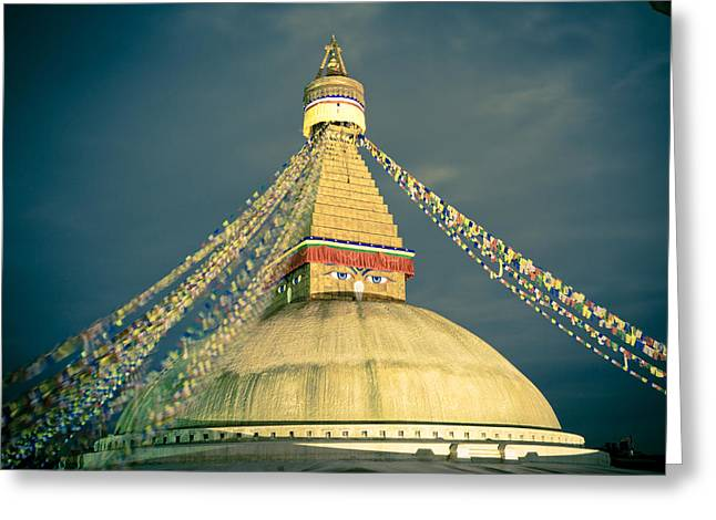 Bodhnath Stupa At Night In Kathmandu Greeting Card
