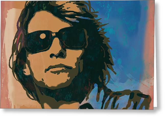 Bon Jovi Long Stylised Drawing Art Poster Greeting Card by Kim Wang