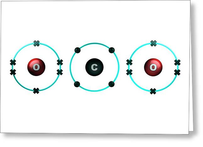 Bond Formation In Carbon Dioxide Molecule Greeting Card by Animate4.com/science Photo Libary