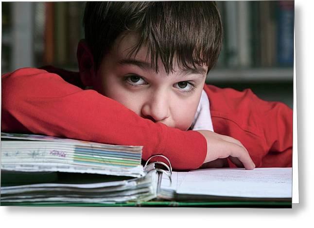 Bored Boy Not Doing His Homework Greeting Card