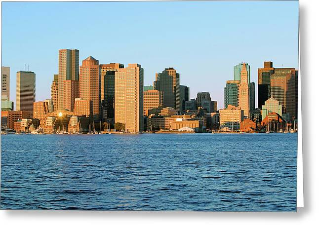 Boston Harbor And The Boston Skyline Greeting Card