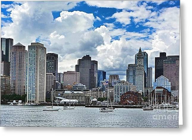 Boston Harbor Greeting Card by Julia Springer