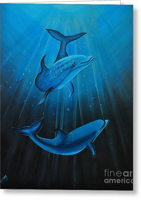 Bottle-nose Dolphins Greeting Card