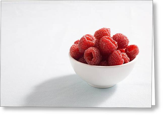 Bowl Of Raspberries Greeting Card by Greg Huszar Photography