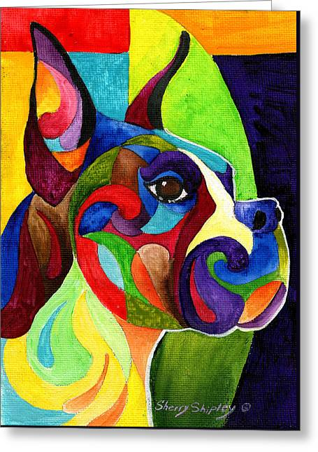 Boxer Greeting Card by Sherry Shipley