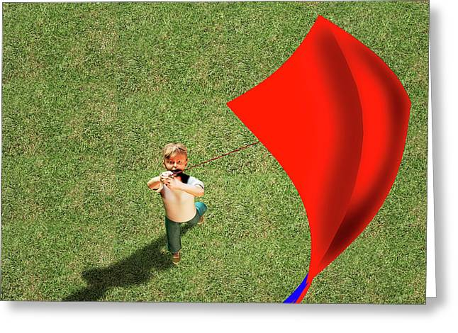 Boy Flying A Kite Greeting Card