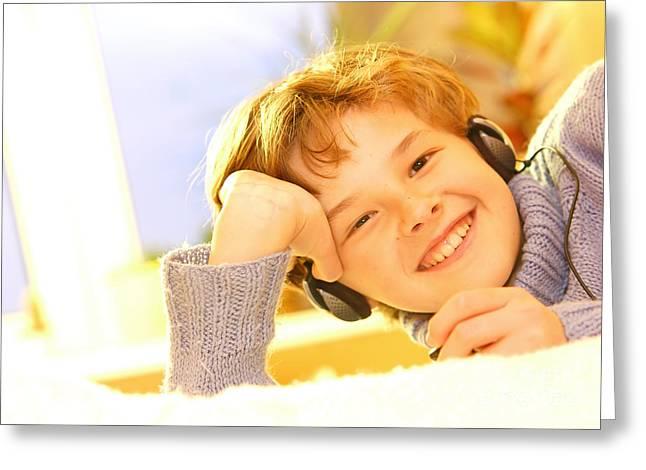 Boy Listen To Music Greeting Card by Michal Bednarek